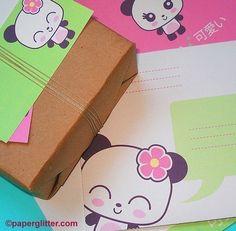 Panda stationery set - party invitations