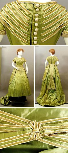 Trousseau dress, 1868. One-piece lime green satin with cream, green, gold, and beaded trim. Ten decorative silk-covered buttons with beads. Partly hand-stitched, partly machine-stitched. Very stiff piece of pleated fabric at center front inside bodice. Two large silk-covered cotton pads help create desired shape. Kentucky Historical Society