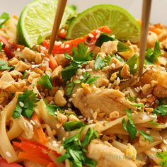 Hands down my favorite pad thai! Flavorful, easily accessible ingredients, simple to make and perfectly hearty. Save this recipe! #padthai #chicken #thai #food #dinner #easy #food #recipe #vegetables #noodles