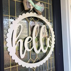 Easy Spring Door hanger decoration. This Metal ACM sign is so cute and welcomes your guests! Would also be a great and easy housewarming gift!