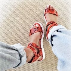 Different Types Of Sneakers – Sneaker Deals Low Heel Sandals, Red Sandals, Cute Sandals, Leather Sandals, Shoes Heels, Flat Sandals, Orange Shoes, Black Shoes, Crazy Shoes