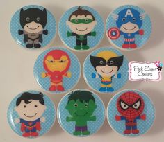 8 SUPERHEROS #3 Set Handmade Knobs m2m Kids Nursery Room Bedding Drawer Pull Kids Decor boys girls by Pinksugarcouture on Etsy https://www.etsy.com/listing/243305777/8-superheros-3-set-handmade-knobs-m2m
