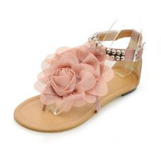 Flats With Satin Flower Beading