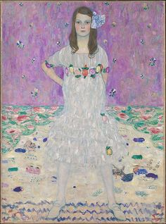 #MetKids Fun Fact: Klimt painted this girl, Mäda Primavesi, in two different outfits before asking his friend Emilie Flöge, a designer, to create this white dress with beaded flowers just for her. | Gustav Klimt (Austrian, 1862–1918). Mäda Primavesi (1903–2000), 1912. The Metropolitan Museum of Art, New York. Gift of André and Clara Mertens, in memory of her mother, Jenny Pulitzer Steiner, 1964 (64.148)