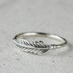 Feather Stacking Sterling Silver Ring