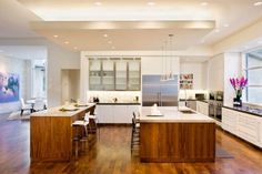 double kitchen island with seating and sink plus kitchen floor board and use kitchen ceiling designs Kitchen Ceiling Design, Plaster Ceiling Design, Kitchen Ceiling Lights, Home Decor Kitchen, Interior Design Kitchen, Kitchen Modern, Kitchen Ceilings, Kitchen Contemporary, Smart Kitchen