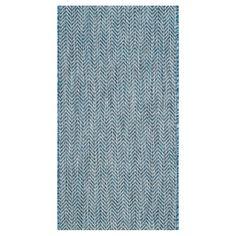 "Positano Rectangle 5'3"" X 7'7"" Outdoor Patio Rug - Navy / Grey - Safavieh, Blue"