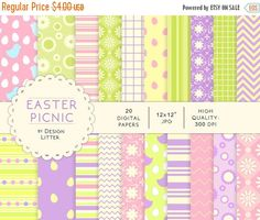 Until New Year - Easter digital paper: Easter picnic digital papers, green mint lavender cream violet and white scrapbook Easter paper · Digital Papers, Spring Colors, Bookmarks, Pink And Green, Party Invitations, Picnic, Gift Wrapping, Easter, Custom Products