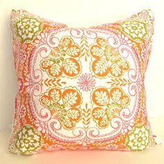 "Decorative Throw Pillow - Bohemian Garden  - 16"" x 16' - Green Orange Pink $25.00"