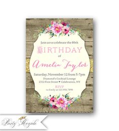 Pin by jill wernert on mama marias 75th in 2018 pinterest 80 rustic 80th birthday invitations for women for adults filmwisefo