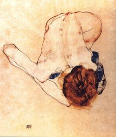 Egon Schiele: I like how even though the background is negative space, there is weight to it in how it interacts with the form.
