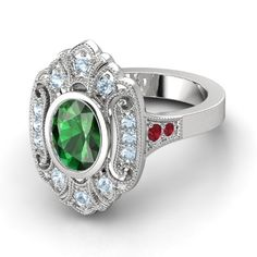 Arya ring: Oval Emerald Sterling Silver Ring with Aquamarine