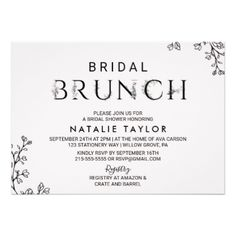Floral Typography Bridal Brunch Card - wedding invitations cards custom invitation card design marriage party