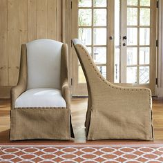 Chairs Cortina Chair With Burlap And Linen By Ballard Designs