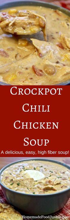 Crockpot Chili Chicken Soup A delicious, easy, high fiber soup! Http://homemadeF. Crock Pot Soup, Crockpot Dishes, Crock Pot Slow Cooker, Crock Pot Cooking, Slow Cooker Recipes, Cooking Recipes, Healthy Recipes, Crockpot Recipes, Chili Recipes