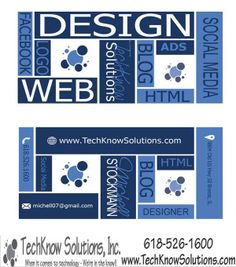 New business card design layout for TechKnow Solutions #techknowsolutions