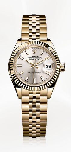 The Rolex Lady-Datejust 28 in 18ct yellow gold with a fluted bezel, silver dial and Jubilee bracelet.