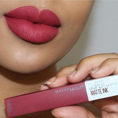 Maybelline- the perfect berry lip with new shade 'ruler'…. Maybelline- the perfect berry lip with new shade 'ruler'. Maybelline Lipstick, Lipstick Swatches, Makeup Swatches, Makeup Lipstick, Drugstore Makeup, Lipsticks, Liquid Lipstick, Make Up Kits, Berry Lipstick