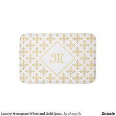 Luxury Monogram White and Gold Quatre Floral Bathroom Mat