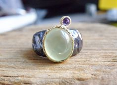Vintage Sterling Silver &14K Gold Artisan Green Prehnite Tourmaline MOD Ring #Handmade #SolitairewithAccents