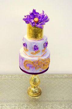 Gold-Purple-Bollywood-Themed-Wedding-Cake