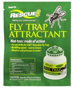 $3.50-$9.99 This fly trap attractant is fast acting, non toxic mode of action. For use in the rescue, reusable fly trap. No killing agents insects drown in the trap. Dissolves and activates in water.
