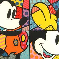 Mickey by Romero Britto Disney Mouse, Mickey Mouse And Friends, Mickey Minnie Mouse, Disney Mickey, Cute Disney, Disney Pop Art, Disney Artwork, Theme Mickey, Mickey Love