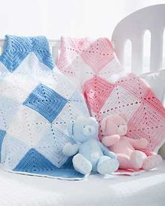 Beautiful double diamond pattern in white with dark and light shades of pink or blue makes a classic gift for that special little one. Approx. 31 in [78.5 cm] square. Bernat Softee Baby, size 4 mm (U.S. G or 6) crochet hook.