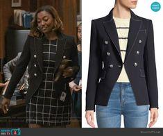 ad8e83ebfc89 Veronica Beard Miller Double-Breasted Blazer Jacket. Secretary OutfitsMadam  ...
