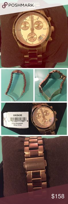✨Beautiful Michael Kors Rose Gold MK5430 Watch✨ Authentic and in Excellent condition Michael Kors stainless steel rose gold watch. Comes with MK box, booklet, and extra links. Only has minor fading in some links (pictured) which is reflected in the price. Battery needs replacement. No trades.  Details: Weight 15.84 ounces MK 5430 model Analog display  Band Width: 15.5 millimeters  Clasp Michael Kors Accessories Watches