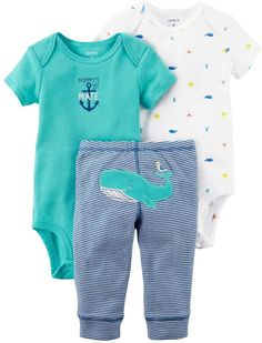 Carter's Baby Boy Whale Bodysuit, Embroidered Bodysuit & Striped Pants Set
