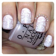 Simple mani for a wedding. OPI Play the Peonies and OPI Pirouette My Whistle stamped using Cheeky Princess Charming Jumbo Plate 8 in Funky Fingers Gesso.