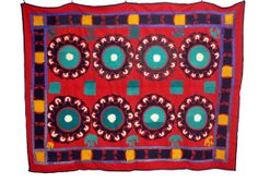 One of a Kind Suzani Textile in Red with by EllimodCreations, $389.00
