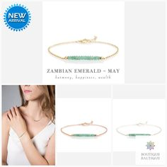 Genuine Zambian Emerald Bar Bracelet in Gold, Rose Gold or Sterling Silver - Personalized Jewelry Gift for Women - May Birthstone Emerald Bracelet, Emerald Jewelry, Gemstone Bracelets, Tourmaline Necklace, Opal Necklace, Zambian Emerald, Green Gemstones, Birthstone Jewelry, Matching Necklaces