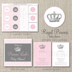 DIY Printable Baby Shower Party Package. Royal Princess Baby Shower COLLECTION. Customizable. totful memories.