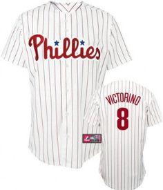 MLB Youth Philadelphia Phillies Shane Victorino White/Scarlet Pinstrp Short Sleeve 6 Button Synthetic Replica Baseball Jersey Fall 2011 --- http://www.pinterest.com.welik.es/49b