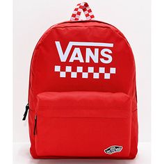 Step up your daily fashion and storage capacity with the Vans Sporty Realm Red & Checkerboard Backpack. All-red throughout, this pack features White logo script on the main pouch and around the top of the pack, while checkerboard print mixed in throughout Vans Backpack, Hiking Backpack, Classic Branding, Vans Bags, Vans School Bags, Cute Mini Backpacks, Red Vans, Backpacking Tips, Vans Off The Wall
