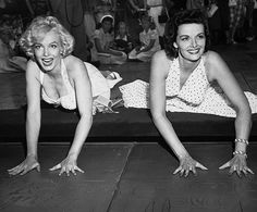 Marilyn Monroe and Jane Russell at Grauman's Chinese Theatre in Hollywood.