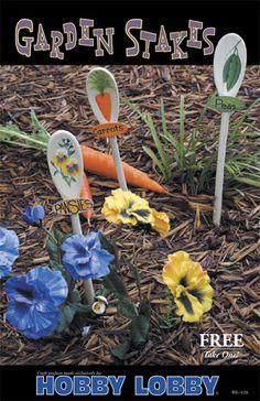 Great ideas for garden markers - cover with lacquer or similar to waterproof Garden Yard Ideas, Garden Crafts, Garden Projects, Garden Art, Garden Whimsy, Garden Oasis, Garden Stakes, Unique Gardens, Beautiful Gardens