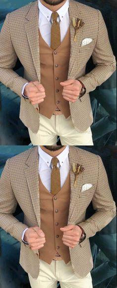 Mens blazer jacket - Camel houndstooth 3 Pieces Suits for Men Blazer (jacket+ Vest + Pants) Dress Suits For Men, Formal Dresses For Men, Mens Suits, Men Dress, Formal Suits For Men, Groom Suits, Groom Attire, Blazer Outfits Men, Mens Fashion Blazer