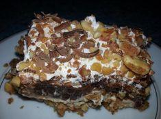 Drumstick Torte 9x13 Cream Cheese layer, Chocolate Pudding layer.