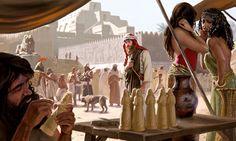 Jonás entre gente mala con un templo de Nínive de fondo