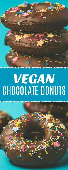Moist and delicious vegan chocolate donuts. Super quick and easy, rich and chocolatey and topped with melted chocolate and sprinkles. Chocolate Donuts, Melted Chocolate, Vegan Chocolate, Chocolate Recipes, Delicious Chocolate, Vegan Dessert Recipes, Vegan Breakfast Recipes, Delicious Vegan Recipes, Easy Desserts