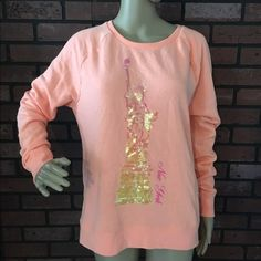 PINK Victoria's Secret sequined New York sweater M Excellent pre-loved condition! No sequins missing. No stains or wear noted at all. 60% cotton, 40% polyester. Super soft and comfy! PINK Victoria's Secret Sweaters