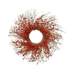 Mini Berries Wreath - Red ($50) ❤ liked on Polyvore featuring home, home decor, floral decor, red, miniature trees, outdoor artificial flowers, twig wreath, door wreaths and outside door wreaths