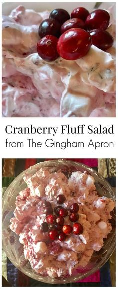 Cranberry Fluff Salad Cranberry Fluff Salad- tart, sweet, and refreshing! Perfect for a Christmas dinner or holiday party side dish. Cranberry Fluff, Cranberry Cake, Salad Recipes Holidays, Holiday Recipes, Holiday Treats, Christmas Recipes, My Favorite Food, Favorite Recipes, Favorite Holiday