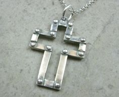 Industrial Cross Pendant in Fine Silver - Religious Jewelry - Modern Cross - Faith Prayer - Silver Cross Necklace - PMC Pendant