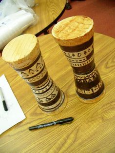 African Drum Craft using styrofoam cups, masking tape and shoe polish! ADORABLE!!!
