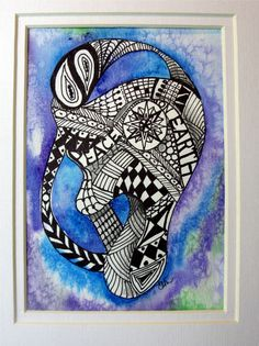 Abstract Zentangle watercolor- Peace on Earth   5 x 7
