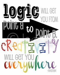 INSPIRATIONAL Art  QUOTE - Logic and Creativity - Einstein -  Wall Art Print - 8x10